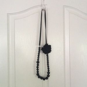 Jessica Simpson Black Flower Necklace